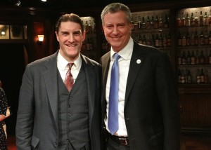 """Bill Wilson meets Bill de Blasio."" On Thursday, March 27th New York City Mayor Bill de Blasio (pictured right) stopped by to see another famous Bill - in the Off-Broadway, hit play BILL W. AND DR. BOB at the Soho Playhouse (15 Vandam Street, Manhattan), picutred here on the left of his honor is actor Patrick Boll, who portrays ""Bill Wilson"" (one of the founders of AA) in the play. Photo Credit: Dale Heller."